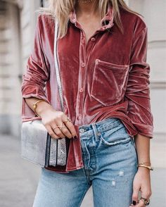 """0c0aead673305d Lisa Olsson on Instagram  """"This shirt is a 10. Velvet + that dusty rose  color in one. More photos of the full look on the blog! 🐾"""""""