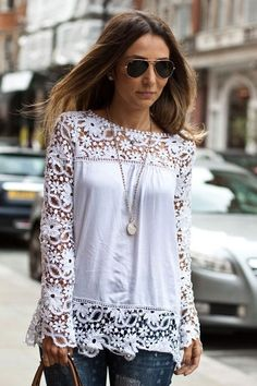 Hollow Lace Splicing Blouse