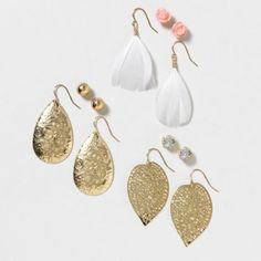 Gold Filigree and Feather Earrings Set of 6  Claire's $3.09