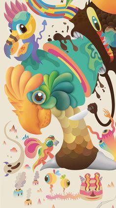 Illustration de petits monstres de l'artiste digitale Zooka.