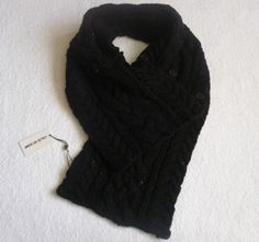 American Retro Designer Lambswool Chunky Knitted Scarf Button SNOOD NECK WARMER | eBay