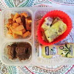 chool lunch: roasted sweet potatoes, sausage and cheddar frittata, @lifewaykefir vanilla and MySuperCookies Chocolate Heroes. #schoollunch #lunchbox #bento #leftovers #fritatta #healthykids #healthytips #mysupercookies #superstartshere