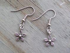 Flower earrings  Antique Silver Flower Dangle by Sapphire107, $8.00