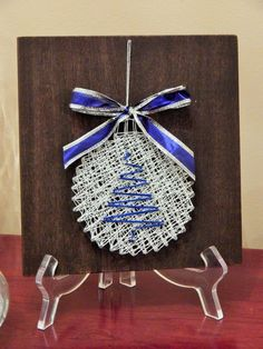 Blue & Silver Ornament String Art- 7 7 by StrungBySteel on Etsy… Nail String Art, String Crafts, Fall Crafts, Holiday Crafts, Arts And Crafts, Noel Christmas, Handmade Christmas, Christmas Ornament, Arte Linear