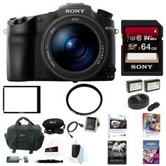 """Sony DSC-RX10 III Cyber-shot Digital Still Camera + 64GB Accessory Kit. Sony Authorized Dealer - Includes USA Manufacturer's Warranty. Includes - Sony Cyber-shot RX10M III Digital Camera / Sony 64G Memory Card / Sony LCD Protector / 72mm UV Protector Filter / Power Battery 2-Pack and Dual Charger / Corel AfterShot Pro 3/Painter Essentials 5/PhotoZoom Pro 6/PrintMaster Platinum / Focus Camera Digital SLR Camera Bag Bundle. 20.1MP 1"""" Exmor RS BSI CMOS Sensor / BIONZ X Image Processor…"""