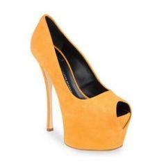 $184  Giuseppe Zanotti orange suede platform peep-toe pumps