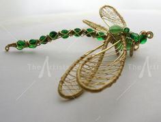 Image detail for -Bejeweled Dragonfly Sculpture Brass wire and glass beads