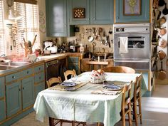 The kitchen from Julie and Julia, wonderful French country kitchen.