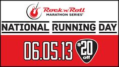 Celebrate National Running Day with a special offer from the Rock 'n' Roll Marathon Series! For one day only, SAVE $20* when you register on June 5 between 12am - 11:59pm PST! #rocknrollmarathon