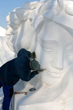 snow sculptures; have students create a sculpture out of white objects or carve into styrofoam
