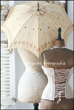 Gorgeous vintage dressforms and a beautiful old parasol from bonjade!