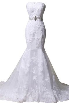 ORIENT BRIDE 2015 Women Appliques Bridal Gowns Strapless Mermaid Wedding Dresses Size 26W US White