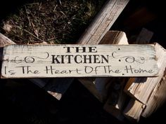 "The Kitchen Is The Heart Of The Home- 6x24"", white, black, distressed, home decor, wall art, kitchen decor, designs, wood signs. $30.00, via Etsy."
