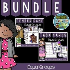 Equal Groups Task Cards, Recording Sheets. Centers and Printables Bundle #TPT #FernSmithsClassroomIdeas