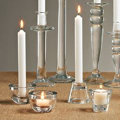 versatile decor: clear, chunky glass reversible candle holders for tea lights and straight candles