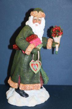 "Pipka Poinsettia Santa Claus large 11"" Christmas figurine #13935"