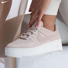 shoes nike air force All for one. WMNS Air Force 1 Sage Lace Low is now available in stores! Source by MehtapppK # air force women Beige Sneakers, Beige Shoes, Cute Sneakers, Pink Shoes, Sneakers Nike, Beige Trainers, Cute Nike Shoes, Cute Nike Outfits, Cute Sneaker Outfits