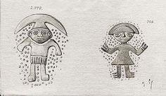 [Cerámicas del Museo Arqueológico de Madrid] [Dibujo] José Cebrián García. Contiene: dos dibujos de figuras humanas, con probabilidad detalles de un vaso o cerámica de la cultura lambayeque. Museo Arqueológico Nacional (España) http://aleph.csic.es/F?func=find-c&ccl_term=SYS%3D000007438&local_base=ARCHIVOS