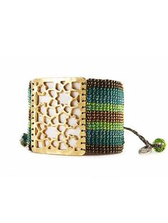 Gold plated large flower star design and hand woven multi-tone glass beading, nickel free, eco-friendly