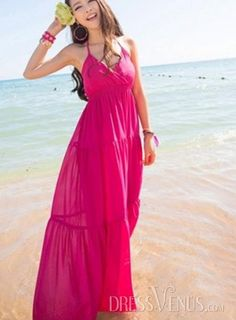 Luxurious Bohemian Style Solid Color Deep V-neck Halter Maxi Dress , Luxurious