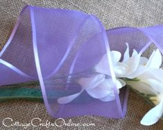 """""""Light Orchid"""", a lavender or lilac, light, pale purple shade 3 inches wide with a lightly wired edge. Offray's """"Arabesque"""" line is beautifully delicate, a high quality sheer edged with the elegance of satin.  From the Cottage Crafts Online shop on Etsy, where we help your ideas become creations."""