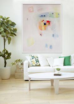 GICLEE PRINT blanc jaune rose moderne l'art l'art par LolaDonoghue