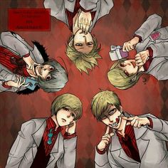 Hetalia - Sweden, Norway, Iceland, Denmark, and Finland : Nordics <<<< Sweden kind of reminds me of Grill from Black Butler.