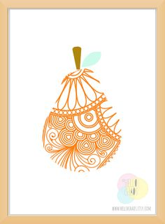 Hello Chaos - Perfect Paisley Pear Art Print - Multi Sizes & Colours available