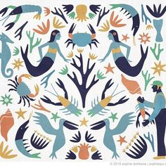 to keep with the crustaceans theme, here's an #otomi pattern I made with a #nautical twist.. would make a nice pillow!
