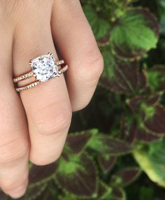 Cushion cut diamond engagement ring, in rose gold, stacked with a beautiful diamond eternity wedding band, by Catherine Angiel