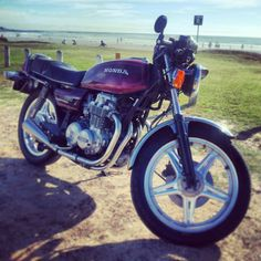 cb650 cafe racer Honda motorcycle beach