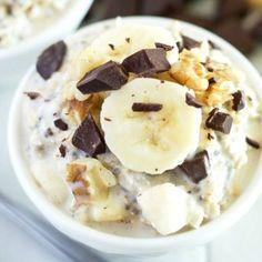Chunky Monkey Overnights Oats Recipe - with chocolate, banana, walnuts, and honey
