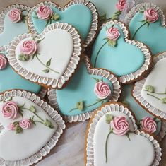 55 Ideas For Cake Decorating Wedding Sugar Cookies Mother's Day Cookies, Valentines Day Cookies, Fancy Cookies, Iced Cookies, Royal Icing Cookies, Cookies Et Biscuits, Cupcake Cookies, Heart Cookies, Wedding Shower Cupcakes