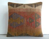 DECORATIVE THROW PILLOW Kilim Pillow Cover Turkish Cushion Case Kilim Cushion Cover pattern decor pastel pillow organic pillow wool cushion