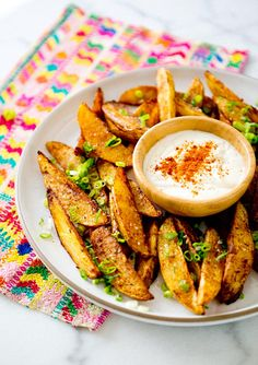Spicy Potato Wedges with Lime Dipping Sauce via A House in the Hills #comfort #appetizer