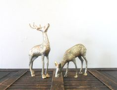 vintage spotted brass deer figurines - midcentury - patina - rustic cabin decor - woodland on Etsy, $40.00
