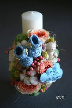 Flowers of Soul: Lumanari de botez Candles, Christmas Ornaments, Holiday Decor, Handmade, Wedding, Baby, Xmas Ornaments, Casamento, Hand Made