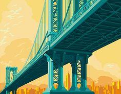 Illustration of the Manhattan Bridge in adobe illustrator CC.Artwork for sale at http://www.inprnt.com/gallery/gappenap/