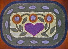 PA FOLK ART HEART Penny Rug Instant Download Pattern