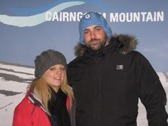 Gemma and Rich wearing SHIVERING SHEEP BAGGY BEANIES at Cairngorm Mountains Highlands Scotland