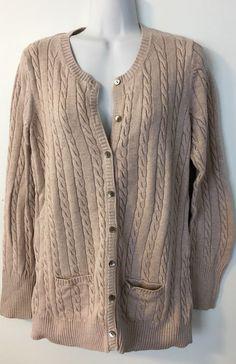 Womens Eddie Bauer Tan Cable Knit Cardigan Size Large L Sweater Cotton Tunic #EddieBauer #Cardigan