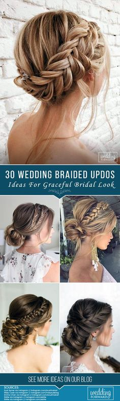 30 Graceful Wedding Updos With Braids ❤ Updo hairstyles for brides look so pretty and graceful. Check out wedding updos with braids in our gallery and be inspired! Bridal Hairstyles With Braids, Bridal Braids, Wedding Braids, Braided Hairstyles For Wedding, Bridal Updo, Bride Hairstyles, Easy Hairstyles, Updos With Braids, Braided Hair Updos