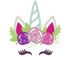 Pretty eyes Unicorn head with shabby chick roses crown applique machine embroidery designs applique Rainbow unicorn embroidery unicorn face