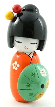 Beautiful Hand Painted Oriental Japanese Kokeshi Doll with Umbrella Orange   eBay