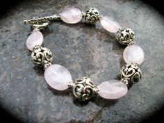 Brighton Style Rose Quartz bracelet with by HeidiDiCesareDesigns, $15.00