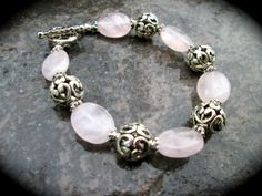 Brighton Style Rose Quartz bracelet with by HeidiDiCesareDesigns, $15.00