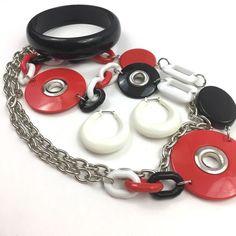 Vintage Mod Plastic Necklace Bangle Hoop Earrings Lot Red Black White 1970s  | eBay
