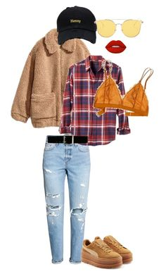 """""""Extra in mustard"""" by bjdanddd on Polyvore featuring H&M, Banana Republic, Madewell, Express, Puma and Lime Crime"""