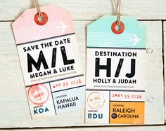 Save the date luggage tag invitation - magnetic luggage tag with airport travel design - destination wedding - design fee Save The Date Invitations, Wedding Invitations, Invites, Key West Map, Luggage Tag Template, Vintage Luggage Tags, Key West Wedding, Save The Date Designs, Happiness
