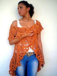 Mandala Star Fashion Shrug  Opaque Silk Orange Vest Woman Hand Crocheted Circle shrug NEW